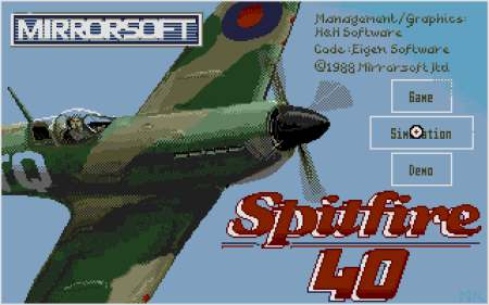 Spitfire 40 main screen
