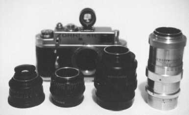 Photo of Zorki-4K with selection of lenses